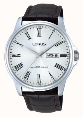 Lorus Мужские часы из нержавеющей стали из коричневой кожи RXN11DX9