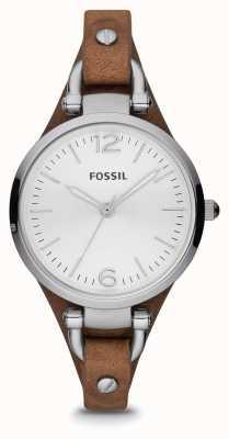 Fossil Женские коричневые кожаные часы из нержавеющей стали ES3060