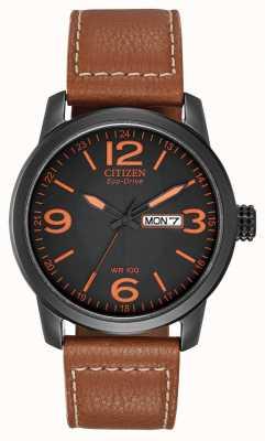 Citizen Эко-драйв для мужчин | chandler в стиле милитари коричневый кожаный BM8475-26E