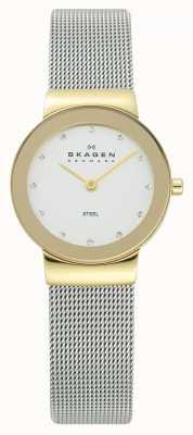 Skagen Женские золотые тональные часы серебряные браслеты из сетки 358SGSCD