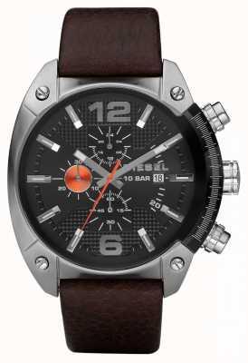 Diesel Мужской хронограф черный круглый коричневый кожаный ремешок DZ4204