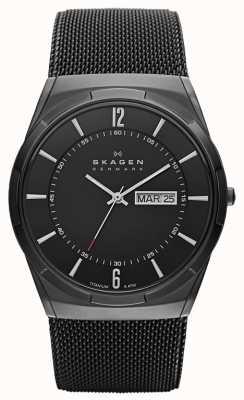 Skagen Мужские часы с черным ионизованным титановым циферблатом SKW6006