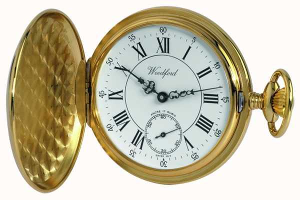 Woodford Золотые пластинчатые римские белые циферблатные механические карманные часы 1009