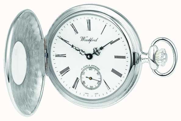 Woodford Стерлинговый серебристый открытый случай белый циферблат механические карманные часы 1068