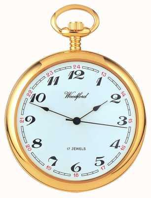 Woodford Арабский позолоченный белый циферблат механические карманные часы 1031