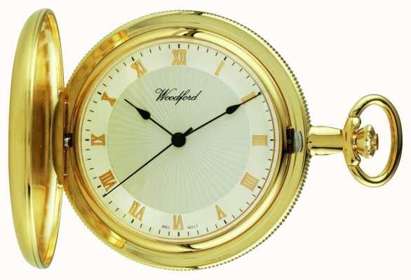 Woodford Золотые пластины полный охотник белый циферблат карманные часы 1053