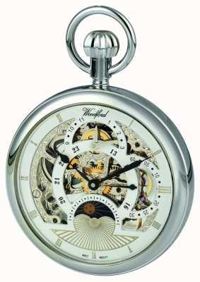 Woodford Хромированный скелет двойной двойной часовой пояс карманные часы 1050