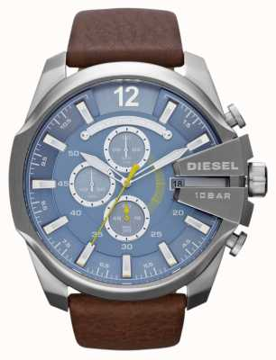 Diesel Mens mega главный синий циферблат коричневый кожаный ремешок хронограф DZ4281