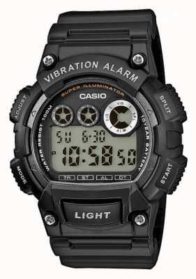 Casio Мужская черная смола ремешок вибрации будильник часы W-735H-1AVEF