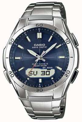 Casio Мужская волна ceptor синий циферблат из нержавеющей стали смотреть WVA-M640D-2AER