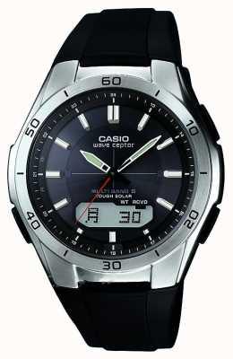 Casio Мужская волна ceptor черный резиновый ремешок из нержавеющей стали смотреть WVA-M640-1AER