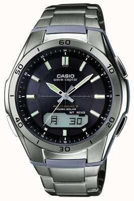 Casio Мужские волны Ceptor черный циферблат титановые часы WVA-M640TD-1AER