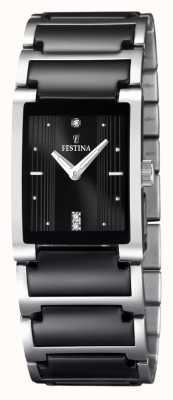 Festina Женская черная керамическая нержавеющая сталь с прямоугольной циферблатой F16536/2