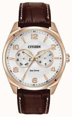 Citizen Мужская розовое золото с шампанским набрать коричневый кожаный ремешок AO9023-01A