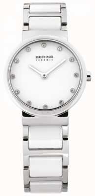 Bering Женские белые керамические, стальные, хрустальные часы 10729-754