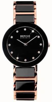 Bering Современные двухцветные керамические хрустальные часы 11429-746