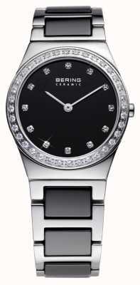 Bering Женская черная керамика, сталь, хрустальные часы 32430-742