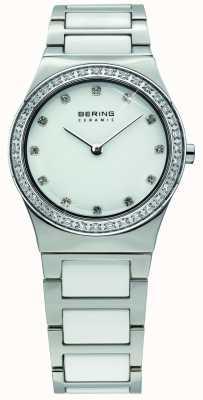Bering Женская белая керамика, хрустальные часы 32430-754