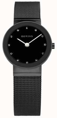 Bering Женская черная ip-сталь, черный циферблат, хрусталь 10126-077