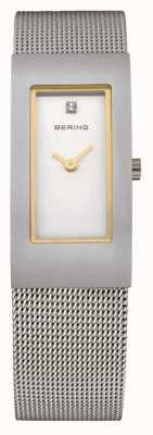 Bering Сетка сетки, сталь, белый циферблат, золотой акцент 10817-004