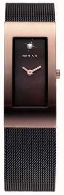 Bering Черный черный ip, сетчатый ремешок, розовое золото 10817-262