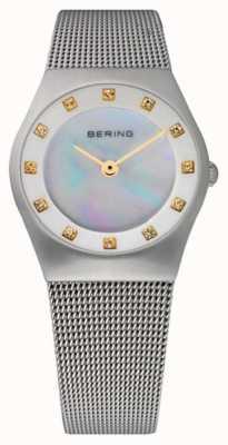 Bering Женский перламутровый циферблат | ремешок из нержавеющей стали | 11927-004