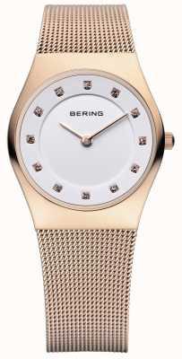 Bering Женская классика, розовое золото, хрустальные часы 11927-366