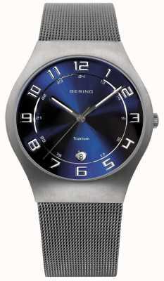 Bering Мужские титановые синие циферблатные сетчатые ремешки 11937-078