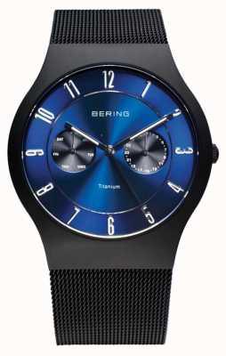 Bering Мужские титановые черные синие циферблатные часы 11939-078