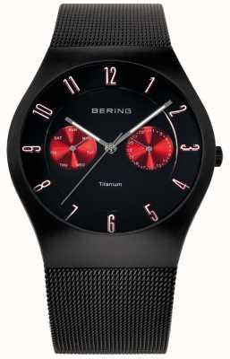 Bering Мужская титановая черная красная акцентная сетка 11939-229