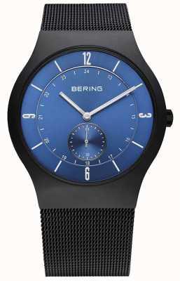 Bering Мужские черные, тонкие, синие циферблатные часы 11940-227