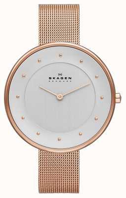 Skagen Женские классические розовые золотые сетчатые часы SKW2142