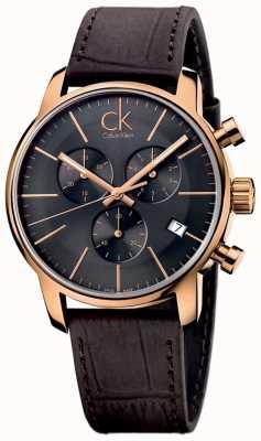 Calvin Klein Мужская роза золото черный циферблат коричневый кожаный городской хронограф K2G276G3