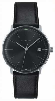 Junghans Мансардный черный кварцевый черный черный циферблат черный кожаный вахта 041/4465.00