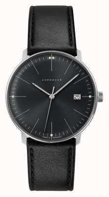 Junghans Мансардный черный кварцевый черный черный циферблат черный кожаный вахта 041/4465.04