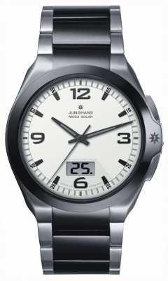 Junghans Мужская звезда мега солнечная сталь и черные керамические часы 018/1423.44