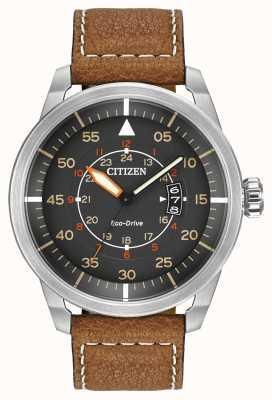 Citizen | мужской эко-драйв avion wr100 | коричневый кожаный ремешок | AW1361-10H