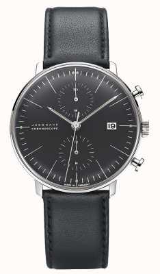 Junghans Макс Билл Хроноскоп | черный кожаный ремешок 027/4601.04