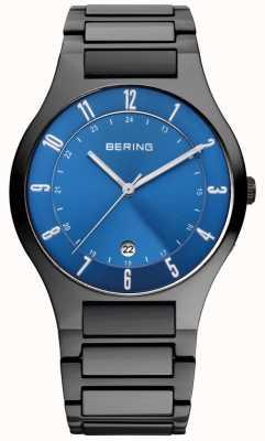 Bering Мужской черный титан, синий циферблат 11739-727