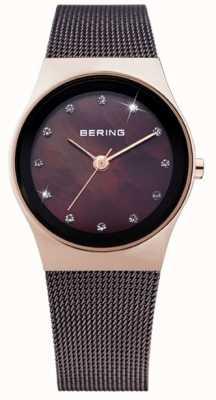 Bering Женская черная ip сталь, жемчужный циферблат, кристалл 12927-262