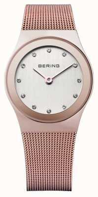 Bering Женское розовое золото, сетчатый ремешок, хрустальные часы 12927-366