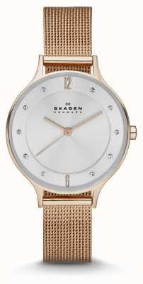 Skagen Женские аниты розовые золотые сетчатые часы SKW2151