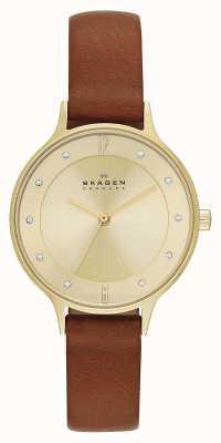 Skagen Повелительницы anita позолоченные коричневые часы ремешка SKW2147
