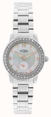 Rotary Женщины, Кембридж, жемчужный циферблат, хрустальные часы LB02700/41