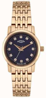 Rotary Женская роза золотая синяя циферблат LB02462/05