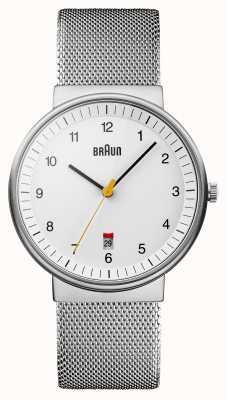 Braun Мужские серебряные белые часы BN0032WHSLMHG