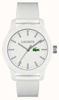 Lacoste Мужской 12.12 белый силиконовый ремешок белый циферблат 2010762