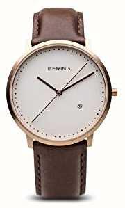 Bering Мужской коричневый кожаный ремешок 11139-564