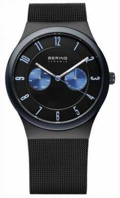 Bering Мужская черная керамика, сетчатый ремень, синий акцент 32139-227