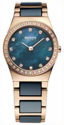 Bering Женская голубая керамика, розовое золото, жемчужный циферблат 32426-767